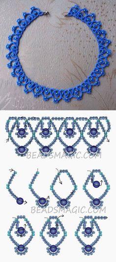 Free pattern for necklace Blue Sky 11/0-4-6 mm golyó #BlueSky