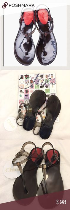 CHLOE Jelly Sandals These sandals are brand new with tags! In excellent condition! Adjustable ankle strap. Made in Italy. True to size. Non-smoking pet free home.                                                                 suggested user • fast shipper                        bundle to save 15% Chloe Shoes Sandals
