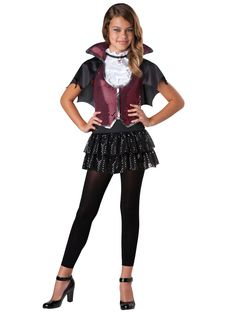 Glampiress Girls Vampire Halloween Costume - This costume includes Sequin and lame dress with attached cape and medallion. Leggings and shoes are not included. Girls Vampire Halloween Costume, Baby Vampire Costume, Vampire Costumes, Halloween Costumes For Teens, Halloween Fancy Dress, Girl Halloween, Halloween Ideas, Halloween 2019, Halloween Customs