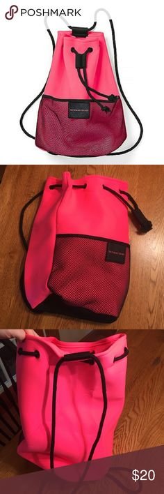 """Victoria's Secret neoprene drawstring backpack bag Brand new! Tags removed but never used. Cute sporty pink neoprene backpack with front mesh pocket and black drawstring cord. Perfect size for gym clothes beach essentials. 17"""" x 9"""" x 9"""" Victoria's Secret Bags Totes"""