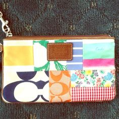 lightly worn COACH wristlet Lightly worn Coach wristlet. Adorable patterns & perfect for summer! Coach Bags Clutches & Wristlets