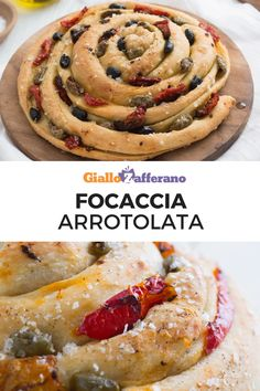 Focaccia arrotolata: una spirale soffice, golosa e facilissima da preparare condita con origano, pomodorini sott'olio e olive. Una vera delizia per buffet e aperitivi homemade! #focaccia #bread #easy #pizza #baking [Easy italian focaccia bread recipe]