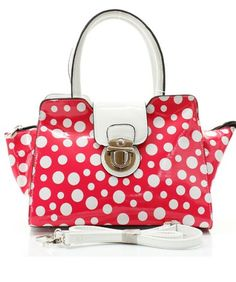 51UPB27ELoL  Hot Pink & White Polka Dot Patent Leather Small Satchel Handbag with Detachable Shoulder Strap