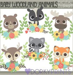 Baby Woodland Animals PNG Clipart -Personal and Limited Commercial Use- Cute Print and Cut Baby Forest Animal for Printing and Other Crafts Clipart Baby, Forest Animals, Woodland Animals, Squirrel Clipart, Baby Skunks, Owl Clip Art, Baby Raccoon, Owl Vector, Tela