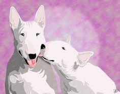Bull Terrier Print Bullie Kisses 11X14 by DigitalDeviations, $45.00
