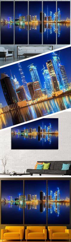 Dubai Skyline Cityscape Double Canvas Print Large Picture Wall Print