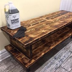 """""""A newly commissioned 60"""" x 20"""" media stand all done. Pine, torched, hemp oil finish, black iron pipe feet. Check out @mettrumoriginals for this product shown. - It's natural, environmentally safe, has no harsh fumes like many wood finishes, is food-safe, and economical."""" -@rusticurbanfurniture Iron Pipe, Hemp Oil, Safe Food, Furniture Makeover, Pine, It Is Finished, Photo And Video, The Originals, Natural"""