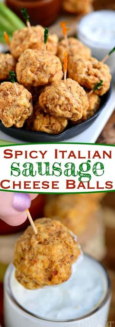 The BEST Sausage Balls These Spicy Italian Sausage Cheese Balls are guaranteed to be a hit at your next party! So easy to make and perfect for game day! We like to dip them in ranch, bbq sauce, or marinara - so good! // Mom On Timeout Fingerfood Recipes, Fingerfood Party, Yummy Appetizers, Appetizers For Party, Italian Appetizers Easy, Sausage Appetizers, Simple Appetizers, Appetizer Recipes, Snack Recipes