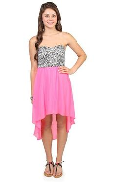 Deb Shops strapless day dress with #neon #pink high low skirt and #cheetah print bodice