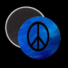 Peace Sign Magnet on Earth Blue Background  Get your peace on with this refrigerator magnet for kitchen, office, or dorm room. Official http://zazzle.com/BlogBlast4Peace* $2.95