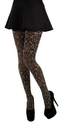 Large Plus Size Baroque Black Gold Sparkly Fashion Tights (20-26)or one size | eBay