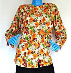 Vintage 1980's Floral Rayon Blouse Womens S 6 8 10 Shirt Top Rockabilly Hippie #Lorelei #Blouse #Casual