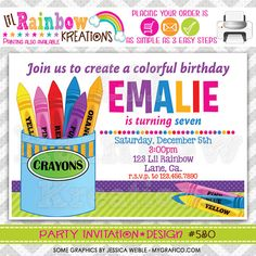 580 DIY Colorful Crayons Party Invitation Or by LilRbwKreations