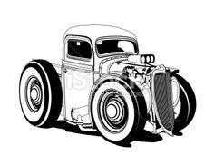 cartown hotrods | Cartoon Hot Rod Pickup Black and White Royalty Free Stock Vector Art ...