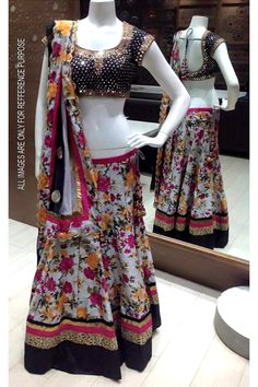 Floral Raw silk lehenga with Raw silk blouse and net Dupatta - Craft Shops India