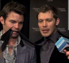 Daniel Gillies & Joseph Morgan <3 On a leash, I love these men so much its unreal!