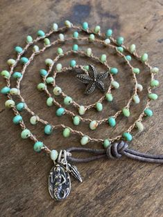 Etsy Design Awards RESERVED for --African opal aqua terra jasper  varcasite stone cluster necklace with czech glass accents on silver