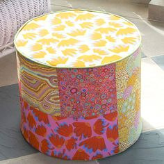 Put your feet up and relax in style with this colorful hassock made using fabrics from The Kaffe Collective by Rowan. The hassock also makes a great place to sit to read, chat, text, or just watch the world go by. Crafts To Sell, Home Crafts, Home Projects, Diy Home Decor, Diy Crafts, Craft Projects, Ottoman Furniture, Living Furniture, Sewing Crafts