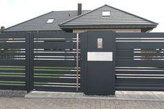Słup multimedialny, aluminiowy – FENZ Fence Gate Design, Steel Gate Design, Front Gate Design, Privacy Fence Designs, House Gate Design, Door Design, Modern Garage Doors, Modern Entrance, Entrance Gates