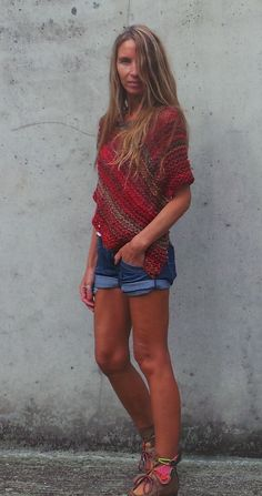 red Poncho / red tweed mix poncho /