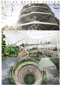 Spiral garden system  - Eco friendly town design - design by : sbda www.sbda.cat + (SBDA+CAS-DA) Benet Dalmau, Saida Dalmau, Anna Julibert, Carmen Vilar. from spain
