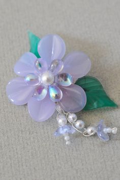 Lavendar Flower Brooch by Originalsbydenise on Etsy, $15.00
