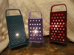 Cheese graters used to illuminate candles
