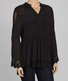 Look at this #zulilyfind! Black Lace-Trim Button-Front Tunic - Plus by Lady Noiz #zulilyfinds