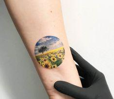 Sunflower fields tattoo by Eva Krbdk