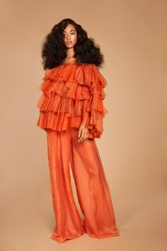 Ruffled Statement Blouse w/ loose waves Foto Fashion, Fashion Shoot, High Fashion, Womens Fashion, 70s Black Fashion, Crazy Fashion, Orange Fashion, Fashion Poses, Fashion Editorials