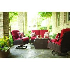 Martha Stewart Living Cedar Island 4-Piece All-Weather Wicker Patio Seating Set with Dragon Fruit Cushions-DY4035-4PC at The Home Depot