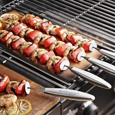 Stainless Steel Sliding Skewers - If you enjoy grilled kabobs, you're probably familiar with the challenge of removing the cooked food from the skewer. Our skewers solve the problem with a sliding disc that lets you push food onto a plate with one controlled motion.