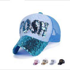 2016 Brand New Letter POSH Paillette Mesh Trucker Cap Women and Men Summer Outdoor Baseball Hats snapback casquette bone