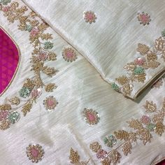 Sajna bridal wear designer added a new photo. Zardozi Embroidery, Hand Work Embroidery, Couture Embroidery, Embroidery Suits, Hand Embroidery Designs, Beaded Embroidery, Embroidery Blouses, Pattu Saree Blouse Designs, Blouse Designs Silk