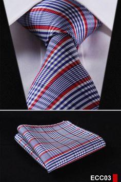 """PLAID NECKTIE Stripe 3.4""""100%Silk Wedding Jacquard Woven Necktie Pocket Square set #tiespattern"""