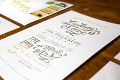 Lindsay + Steve's Hand Lettered Wedding Invitations