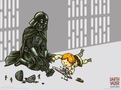 Darth Vader and Son, A Star Wars Childrens Book by Jeffrey Brown Star Trek Humor, Star Wars Meme, Star Wars Cartoon, Vader Star Wars, Star Wars Comics, Star Wars Art, Disney Star Wars, Darth Vader And Son, Origami