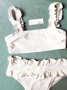 Crop Top Bikini, High Waisted Bikini Bottoms, Ruffle Swimsuit, Swimsuit Tops, Polka Dot Bikini, Cute Bathing Suits, White Off Shoulder, Cute Bikinis, Look At You