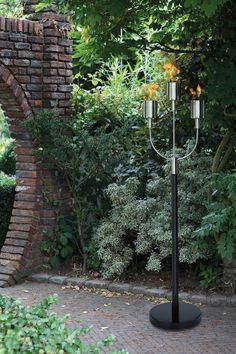 Vintage Edelstahl Gartenfackel NEVIS von Fink flammig elegante Illumination an Wegen und Beeten