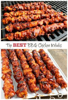 "The BEST BBQ Chicken Kabobs | FabuLESSly Frugal. ""This isn't your ordinary barbecue chicken. In fact, these BBQ Chicken Kebabs are the best barbecue chicken I've tasted."" #bbq #kabobs #grilling @Fabulessly Frugal"