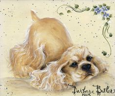 Cocker Spaniel Print of Painting Bowing Playing Buff by Artist Bar Butler. $49.00, via Etsy.