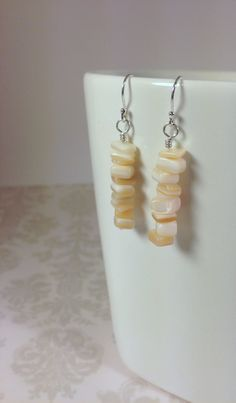 Ivory Shell and Sterling Silver Earrings by TheBeadtiqueJewelry, $15.00