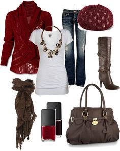 """Red and Brown"" by chelseawate on Polyvore... love that sweater!"