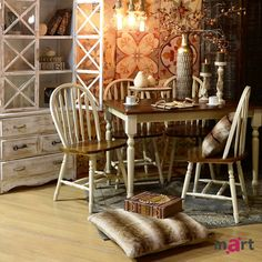The country style table, the matching chairs, the soft pillows on the floor… are all part of my most cherished memories. #inartLiving #HomeDecor #Decoration #Furniture #CountryStyle