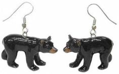 Black Bear Earrings Black Bear Cub, Bear Rug, Wildlife Decor, Kitchen Canister Sets, Black Decor, Fashion Accessories, Porcelain, Hand Painted, Earrings