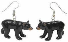 Black Bear Earrings Black Bear Cub, Bear Rug, Wildlife Decor, Kitchen Canister Sets, Black Decor, Fashion Accessories, Porcelain, Hand Painted, Earrings