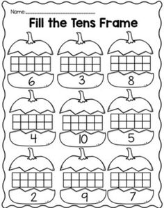 Freebie!  Pumpkin theme ten frame center and practice sheet!!