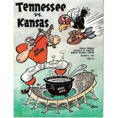 RDB Holdings & Consulting Tennessee Volunteers VS Kansas Jayhawks College Football Game Program - October 1973 - Excellent Condition, As Shown Tennessee Volunteers Football, Ut Football, College Football Games, Tennessee Football, Football Images, Kansas Jayhawks, Sports Art, Snoopy, October
