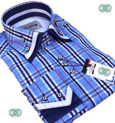 Brand New Men's Formal, Smart, Light Baby  / Navy Blue, White with Red Checked Double Collar Casual Italian Design Slim Fit Shirt -