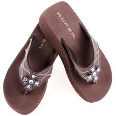 Roper Brown Cross Flip Flops|Women's Western Boots